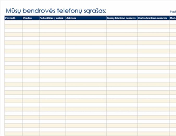 Organizacijos telefonų sąrašas
