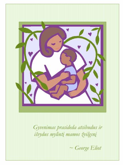 Motinos dienos atvirukas (mama su kūdikiu)