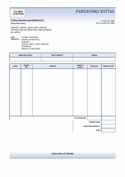 Pardavimo kvitas (mėlyno gradiento tema)