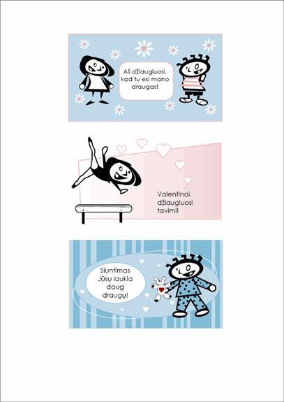 Sukurkite savo vaikams Šv. Valentino dienos atvirukų (4 kortelių dizaino puslapiai ir 1 universalusis nugarėlės puslapis)