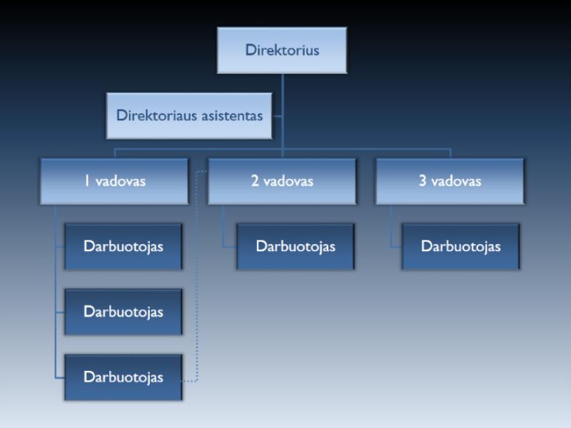 Animuota vertikali organizacijos schemos skaidrė