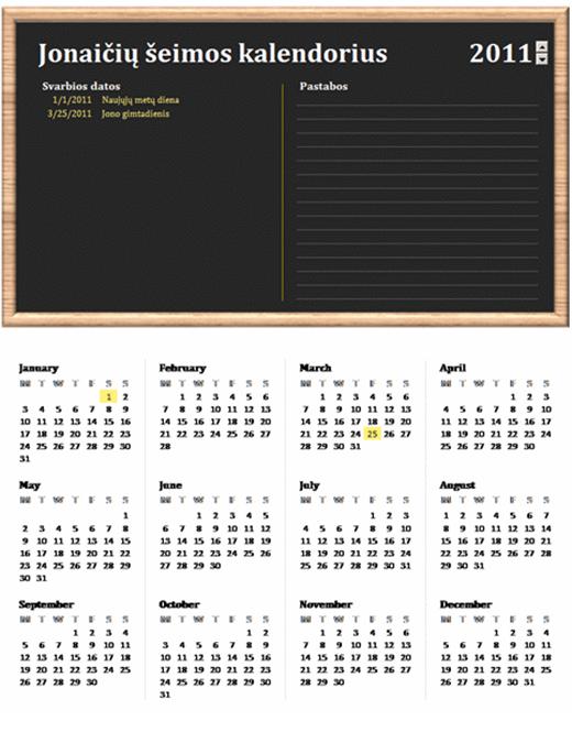 Šeimos kalendorius (bet kurių metų, nuo pirmadienio iki sekmadienio)