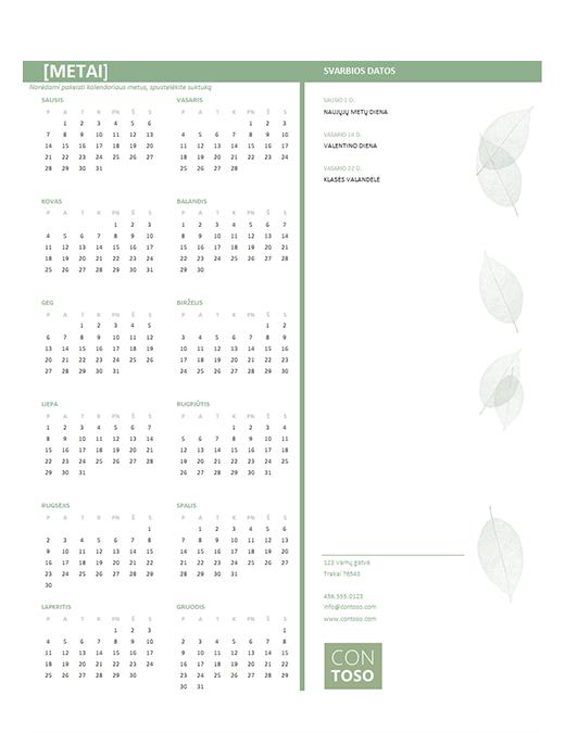 Mažas verslo kalendorius (bet kurių metų, Pr–Sk)