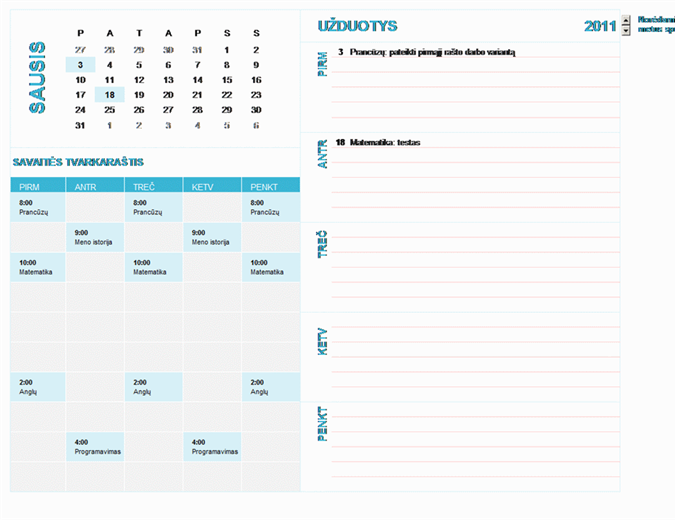 Studento savaitinis kalendorius (bet kurių metų, nuo pirmadienio iki sekmadienio)