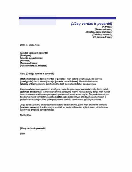 Titulinis lapas dokumentui pagal pareikalavimą (mėlynos linijos tema)