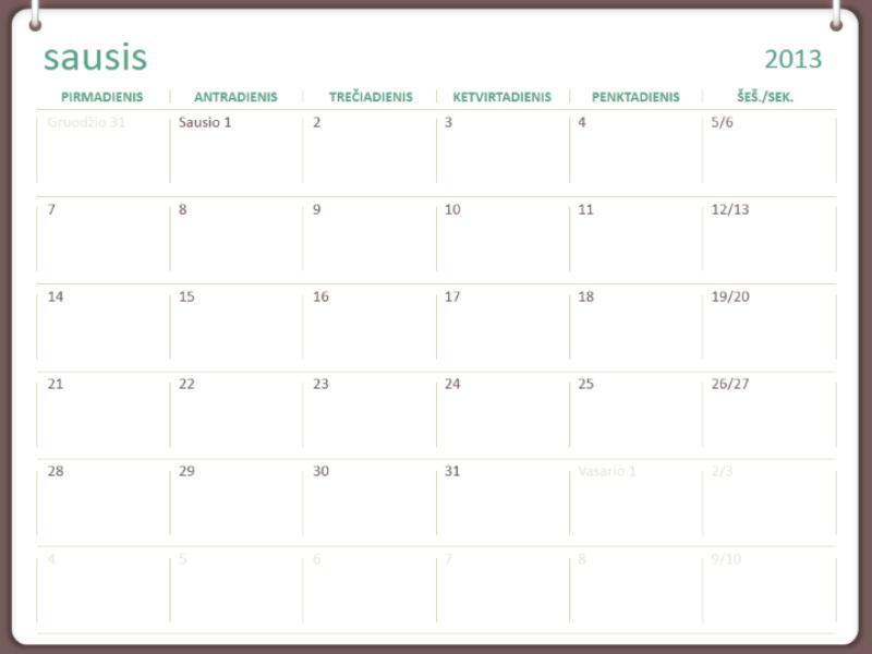 2013 m. dviejų žiedų dizaino kalendorius  (Pr–S)