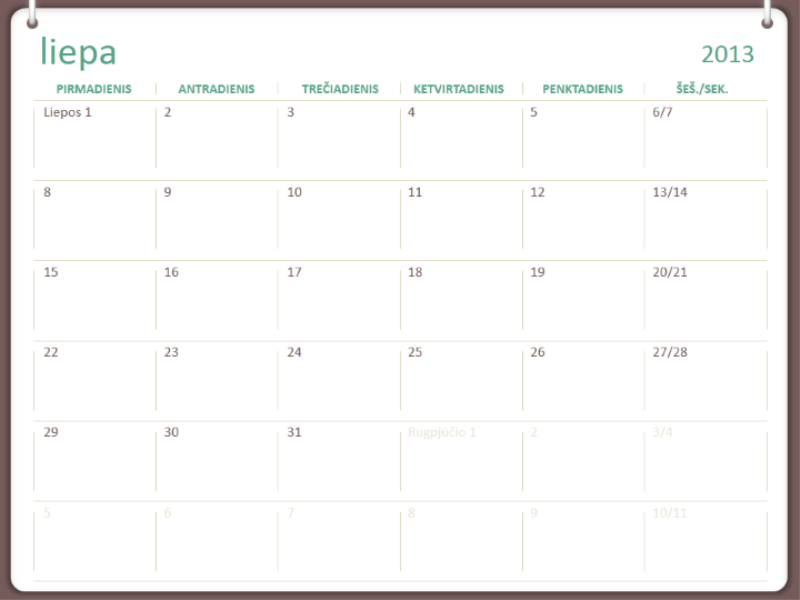 2013–2014 m. akademinis kalendorius (liepa)