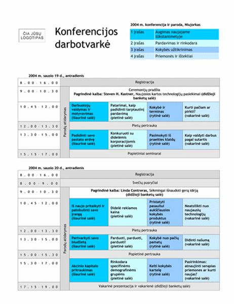 Konferencijos darbotvarkė su suskirstymu