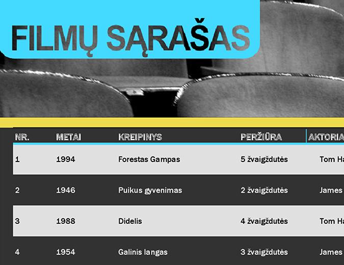 Filmų sąrašas