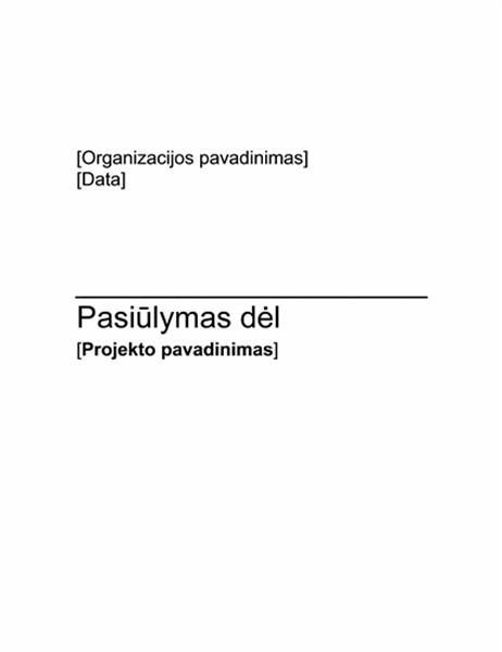 Finansavimo projekto pasiūlymas