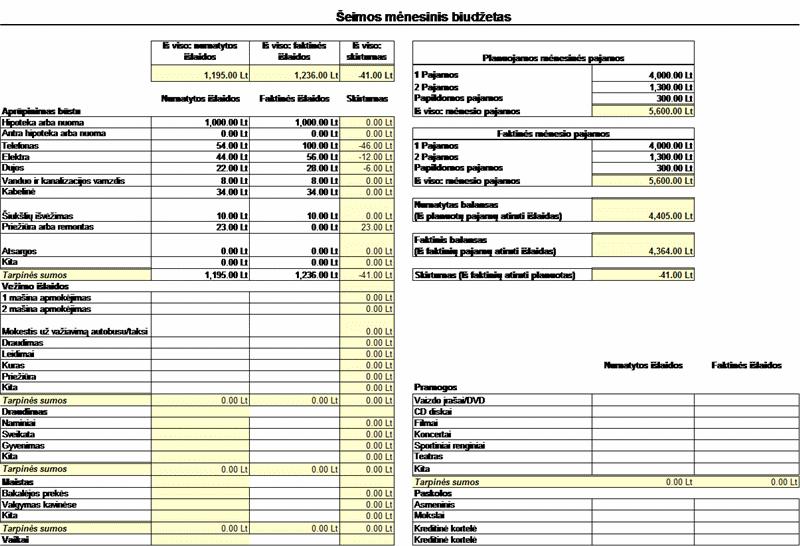 Šeimos mėnesio biudžetas