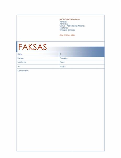 Faksogramos viršelis (mėlynas)