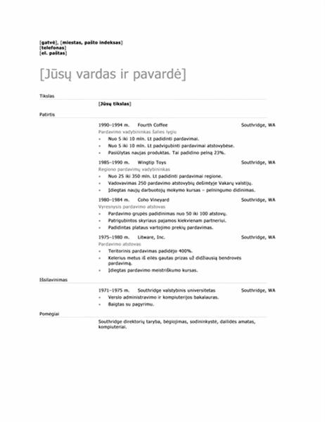 Pardavimų vadybininko gyvenimo aprašymas (Šiuolaikiškas stilius)