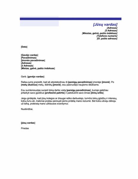 Laiškas skelbiantis darbo paiešką (mėlynos linijos tema)