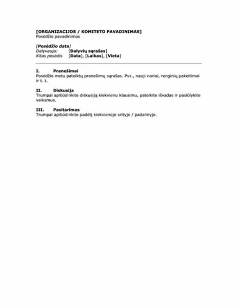 Posėdžio rengimo protokolas (trumpoji forma)