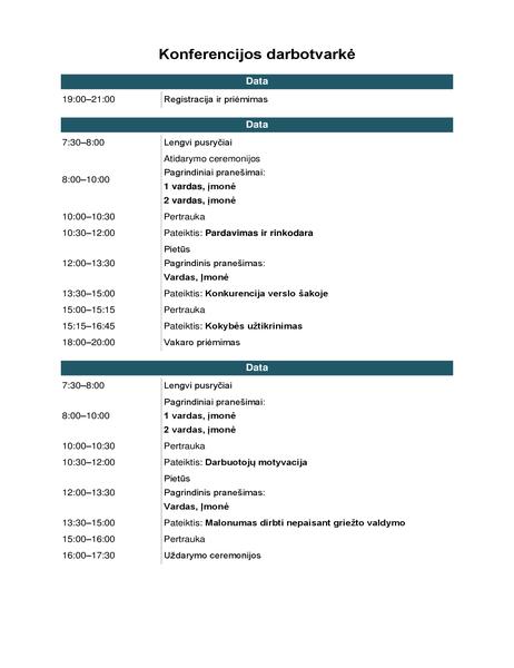 Konferencijos darbotvarkė