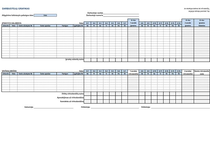 Darbuotojų tabelis