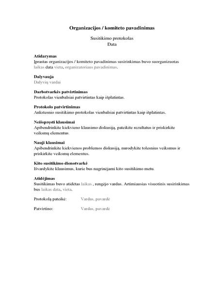 Posėdžio rengimo protokolas (ilgoji forma)