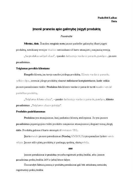 Pranešimas spaudai apie produktą