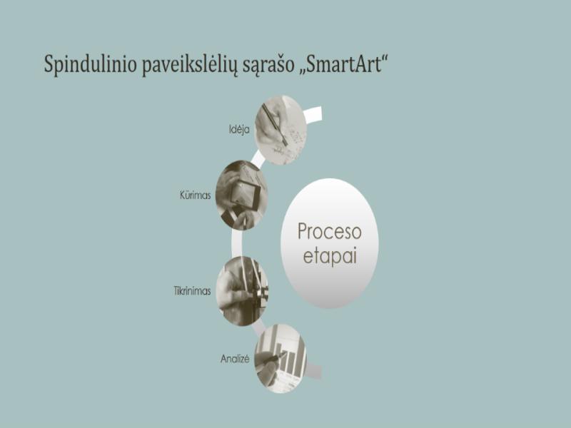 """Proceso """"SmartArt"""" grafinis elementas su spinduliniu paveikslėlių sąrašu (plačiaekranis)"""