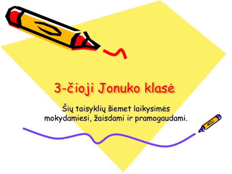 K-3 klasės taisyklės