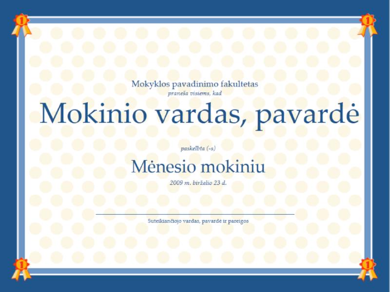 Mėnesio mokinio sertifikatas