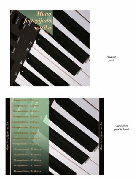 Lapelis, dedamas į kompaktinio disko dėžutę (pianino muzikinis dizainas)