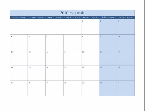 2010 m. kalendorius (klasikinio mėlyno dizaino, Pr–S)