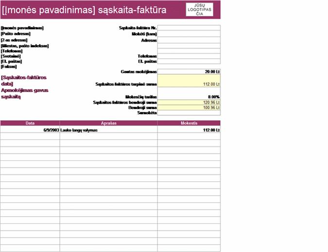 Paslaugų sąskaita-faktūra