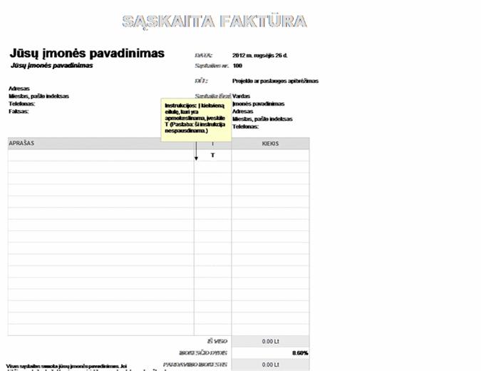 Sąskaita faktūra su iš dalies taikomu pardavimų mokesčiu