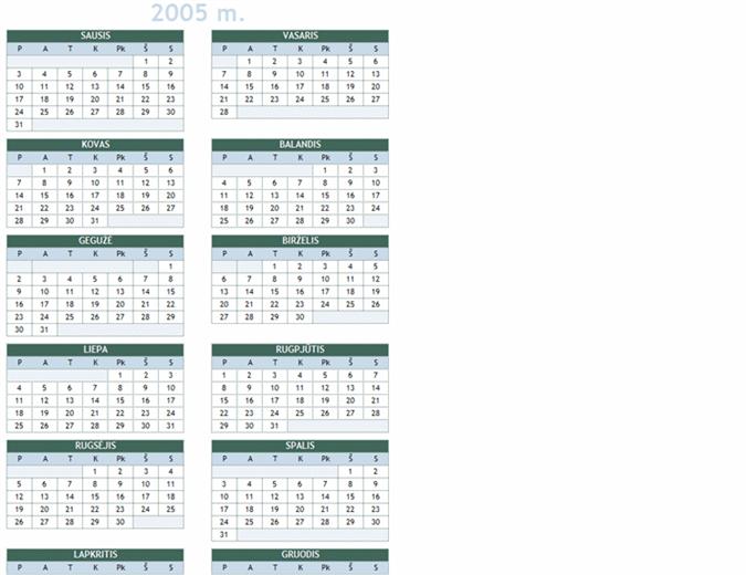 2005-2014 m. kalendorius (Pr-Sk)