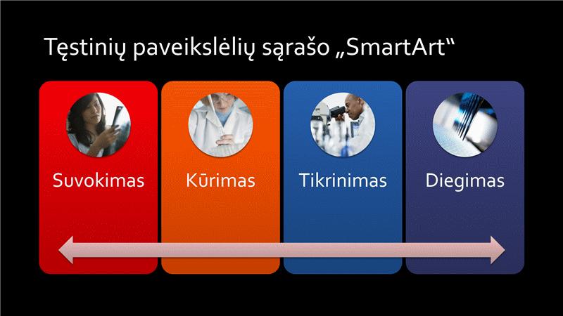 """Tęstinio paveikslėlių sąrašo """"SmartArt"""" skaidrė (įvairios spalvos juodame fone), plačiaekranė"""