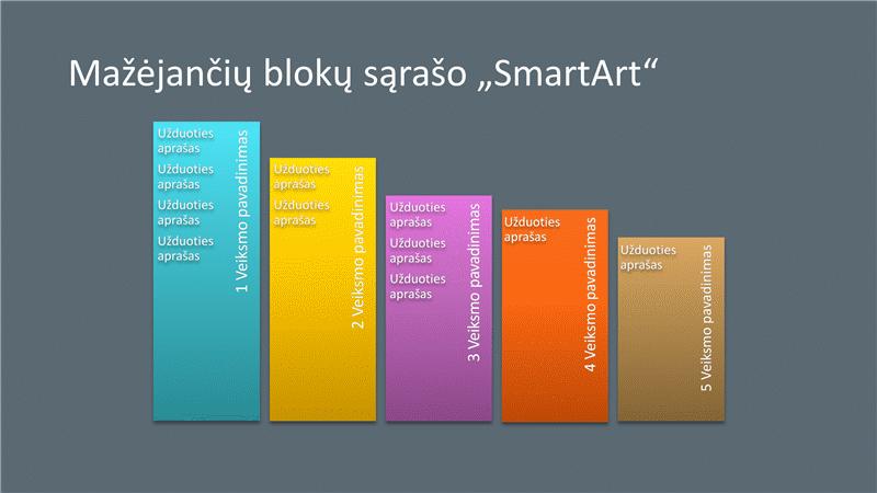 """Mažėjančio blokų sąrašo """"SmartArt"""" skaidrė (įvairios spalvos pilkame fone), plačiaekranė"""