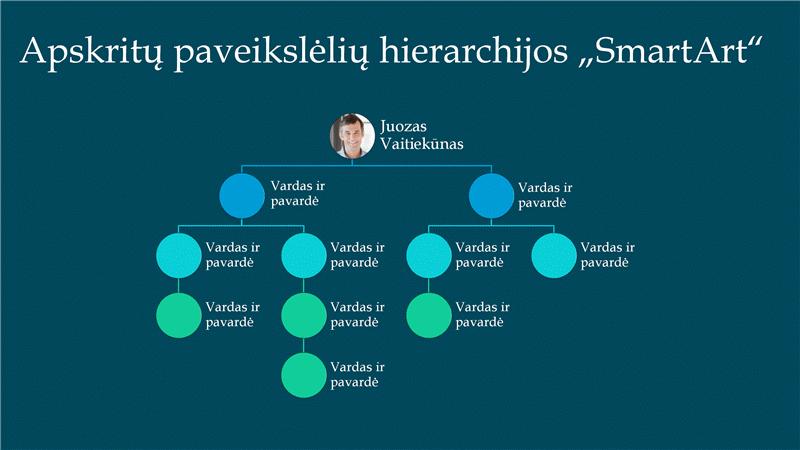 Apvalių nuotraukų hierarchinės organizacijos diagramos skaidrė (balta mėlyname fone), plačiaekranė