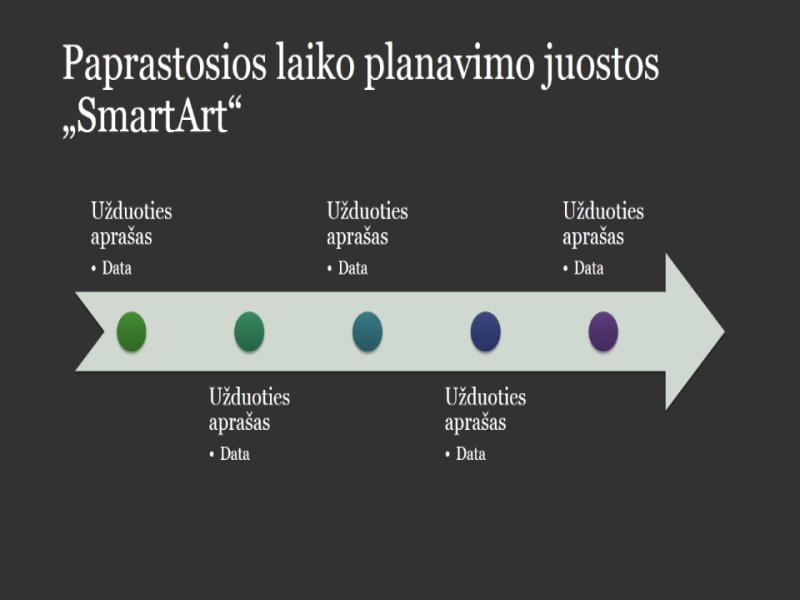 """Pagrindinės laiko juostos """"SmartArt"""" grafinis elementas (balta spalva tamsiai pilkame fone), plačiaekranis"""