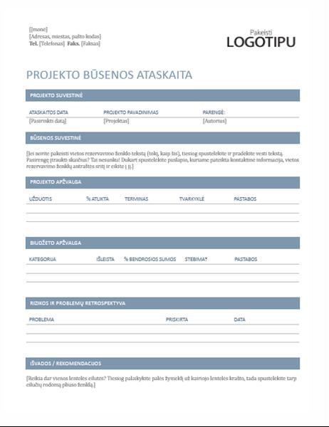 Projekto būsenos ataskaita