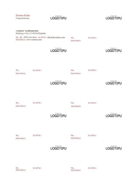 Vizitinės kortelės, horizontalus maketas su logotipu ir kairėje sulygiuotu tekstu