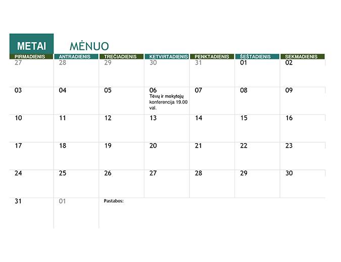 Mokslo metų kalendorius (bet kurių metų)