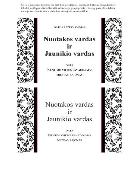 Rezervavimo datos vestuvėms kortelė (vestuvių dizainas – juoda ir balta )