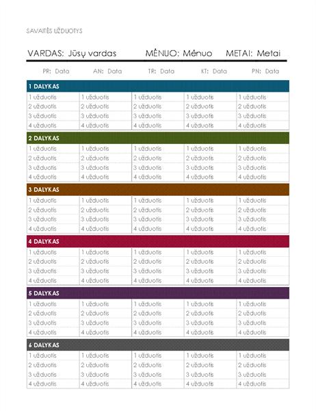 Savaitės užduočių kalendorius