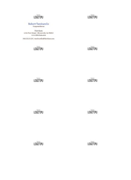 Vizitinės kortelės, horizontalus išdėstymas su logotipu, pirmosios vardo raidės – didžiosios