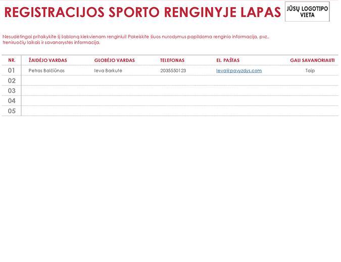 Registracijos sporto renginyje lapas