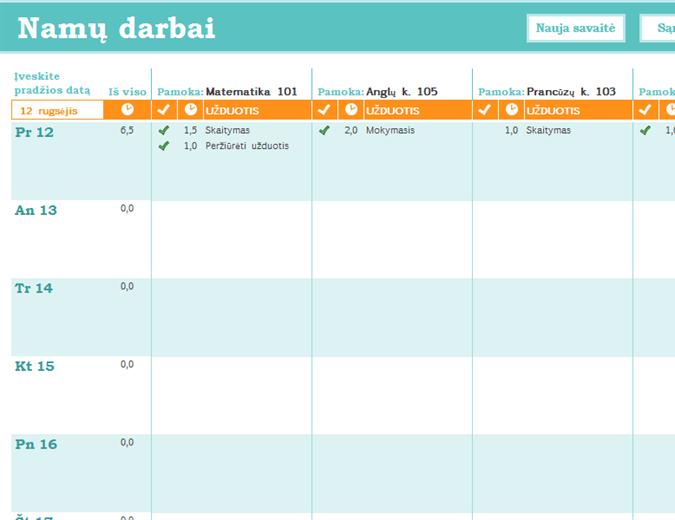 Namų darbų tvarkaraštis