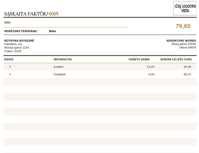 Atsiskaitymo sąskaita faktūra