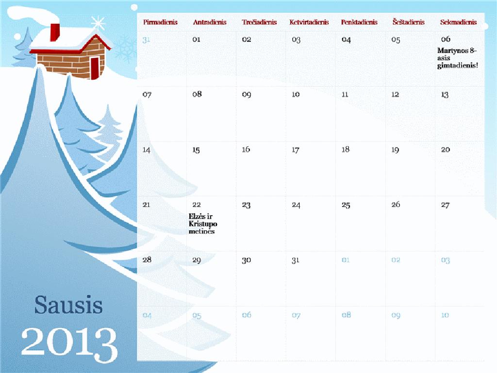 2013 m. iliustruotas sezoninis kalendorius, pirmadienis–sekmadienis