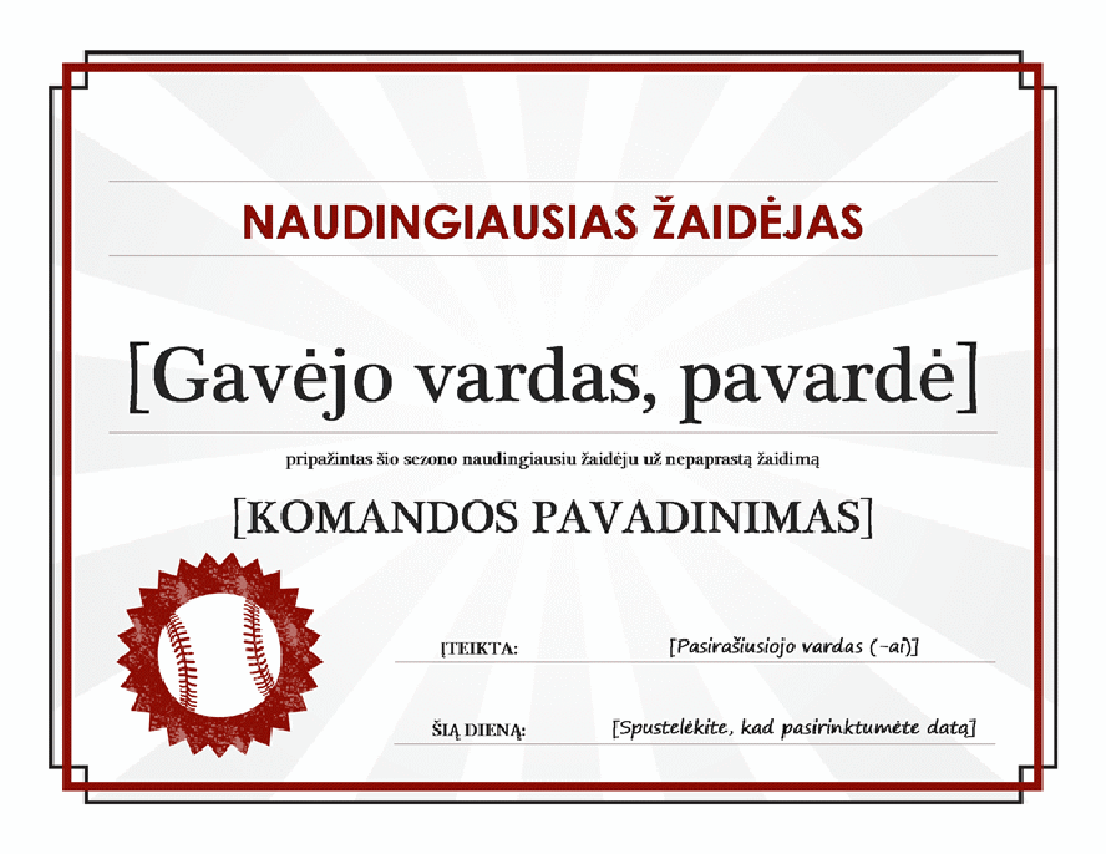 Naudingiausio žaidėjo sertifikatas