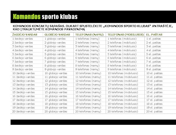 Jaunimo sporto kontaktų sąrašas