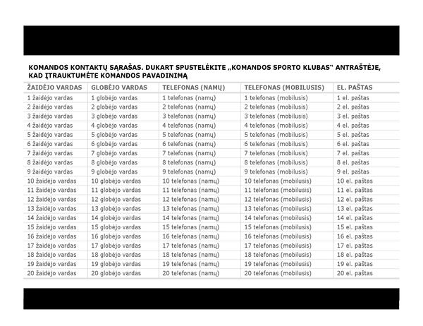 Sporto komandos kontaktų sąrašas