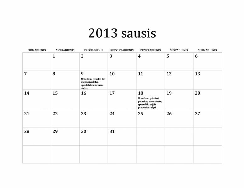 2013 m. klasikinis kalendorius (P–S)