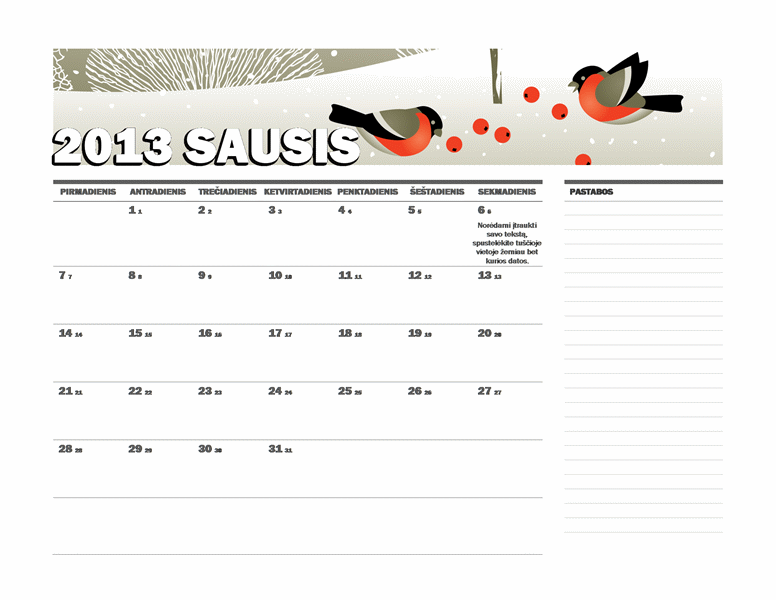 2013 m. Julijaus kalendorius (P–S)